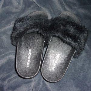 womens fur black slides steve madden sandals shoes